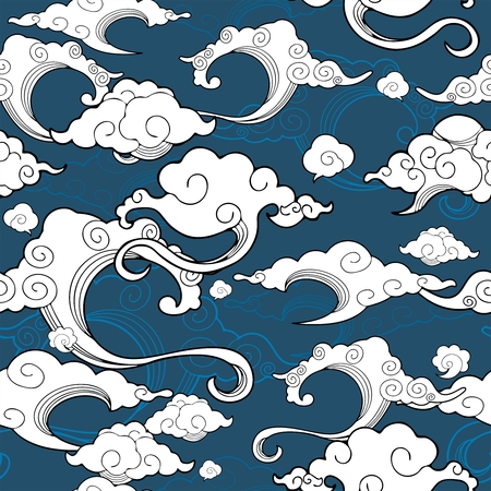 Oriental withe cloud ornament with blue