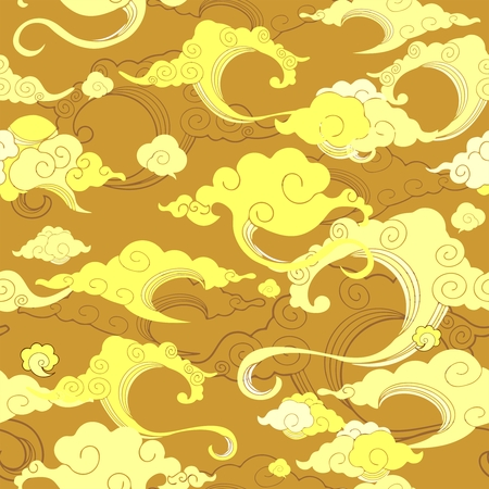 Oriental withe cloud ornament with golden tone Illustration