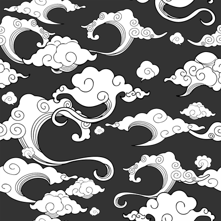 Oriental withe cloud ornament with deep gray Stock Illustratie