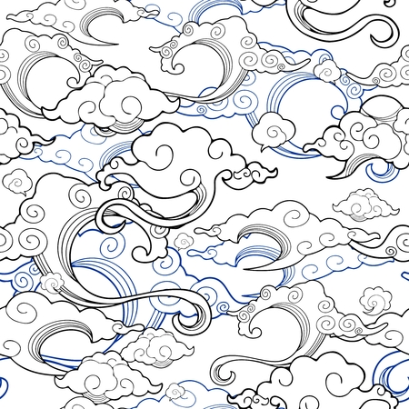 Oriental withe cloud ornament design with pen drawing line with white