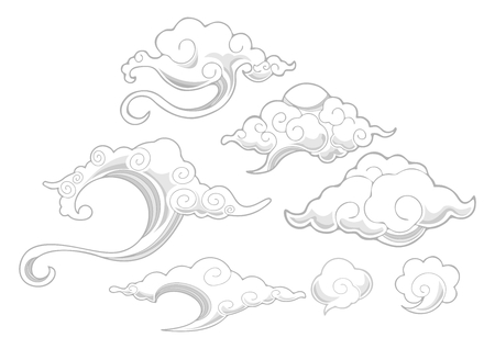 flit: Oriental withe cloud ornament set vector with white isolated background