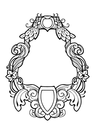 Renaissance vintage luxury frame drawing design with ink pen vector with white isolated background and have some space for write wording
