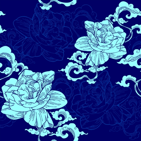 Oriental Cape jasmine and and aroma cloud design for seamless pattern vector with Sky blue tone