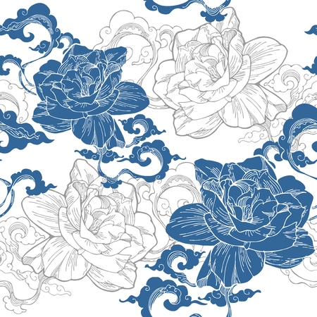 Oriental Cape jasmine and and aroma cloud design for seamless pattern vector with white blue Porcelain tone