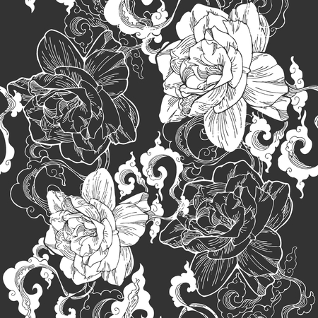 Oriental Cape jasmine and and aroma cloud design for seamless pattern vector with gray black tone