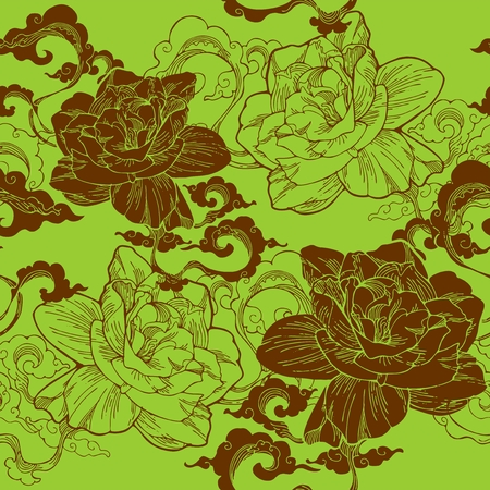 Oriental Cape jasmine and and aroma cloud design for seamless pattern vector with green brown or earth tone Illustration