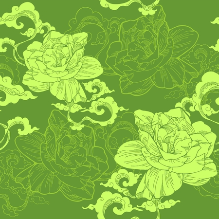 Oriental Cape jasmine and and aroma cloud design for seamless pattern vector with green tea tone Illustration