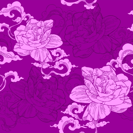 Oriental Cape jasmine and and aroma cloud design for seamless pattern vector with violet tone