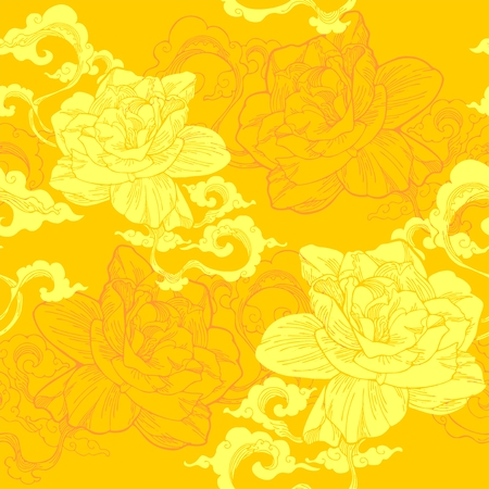 Oriental Cape jasmine and and aroma cloud design for seamless pattern vector with yellow golden tone