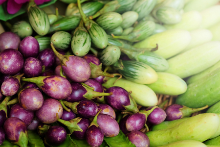 group of mini purple eggplant,mini Green eggplant,cucumber,Winged bean. healthy Thailand vegetable for diet