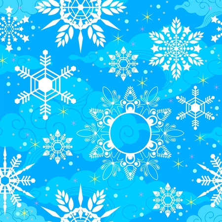 crystal Snowflake seamless pattern texture background vector in light blue tone Illustration