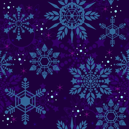 crystal Snowflake seamless pattern texture background vector in deep blue tone Illustration