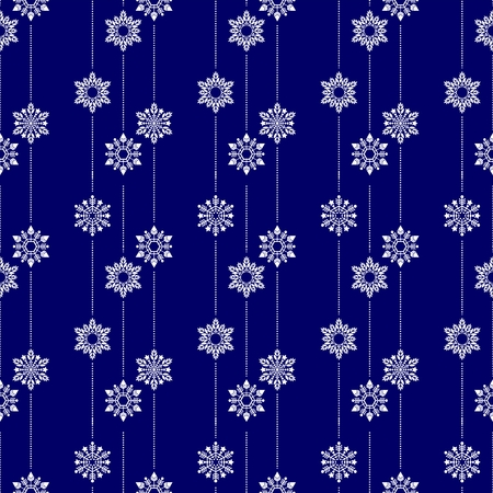 frozen crystal Snowflake basic vertical line seamless pattern texture background vector in white and blue or Porcelain tone