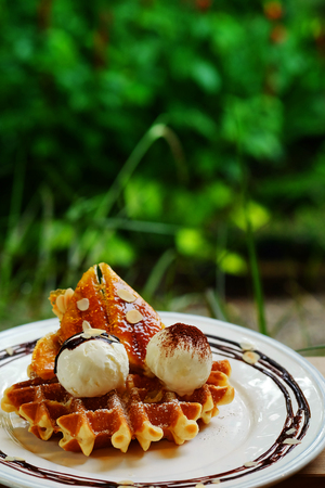 tasty waffle and vanilla ice cream set served with banana sugar coating Topped with chocolate sauce on white plate in green garden coffee shop mood tone. Have some space for write wording