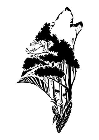 黒いシルエットのオオカミの頭が地球の要素または地上の要素に部族の入れ墨をハウリングします。  イラスト・ベクター素材