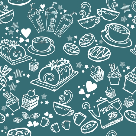 various coffee,cake,cupcake,Sandwich,cookie , appetizer and beverage seamless pattern sketch drawing line by white pen vector with sea blue background Illustration