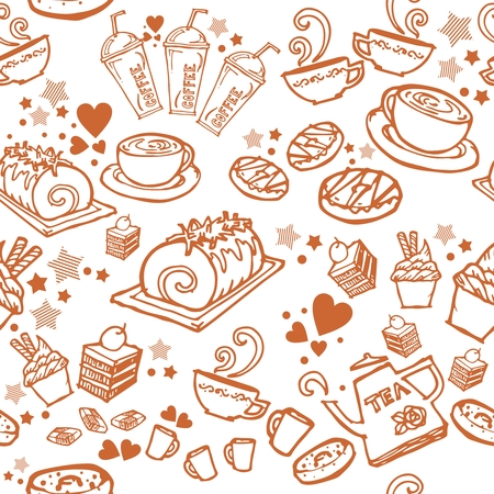 various coffee,cake,cupcake,Sandwich,cookie , appetizer and beverage seamless pattern sketch drawing line by brown pen vector with white background Illustration