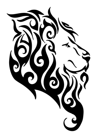 Silhouette lion side head tribal tattoo  vector design from flame fire white isolated background Stock Photo