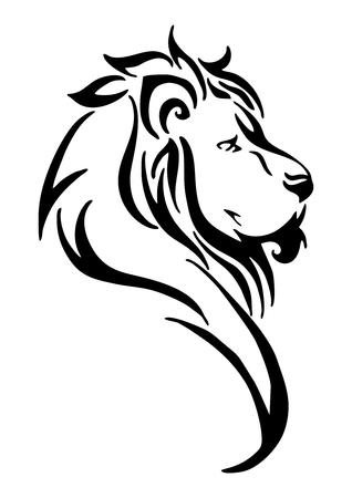 シルエット ライオン側頭トライバルタトゥー分離された白のベクトルの背景  イラスト・ベクター素材