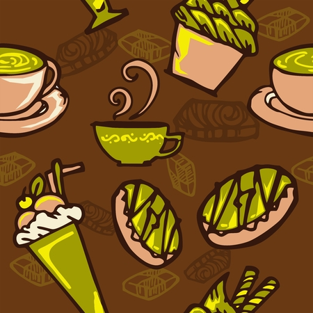 coffee and cake in bakery shop concept design for seamless pattern with brown and green color tone background