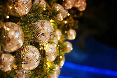 close up mirror ball or Christmas ball to decorative for Christmas festival with bokeh background. Have some space for write wording