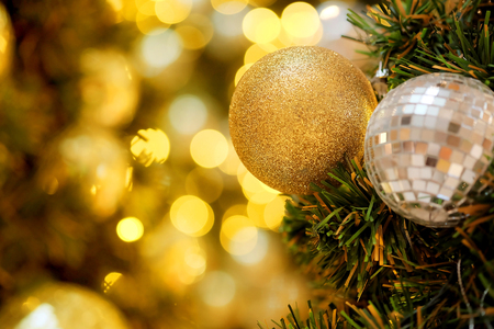 Decorative with mirror ball or Christmas ball for merry Christmas and happy new years festival with bokeh background. Have some space for write wording