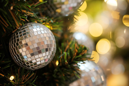 Decorative with mirror ball or Christmas ball for merry Christmas and happy new years festival with bokeh background. Stock Photo