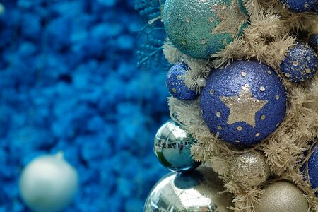 blue Christmas ball with blue tone Christmas and happy new year festival background. have some space for write wording
