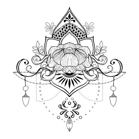 Make meditation mandala flower vintage decorative elements. Oriental pen drawing pattern, vector illustration.