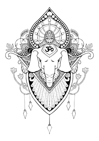 silhouette Ganesha mandala oriental drawing tattoo illustration vector
