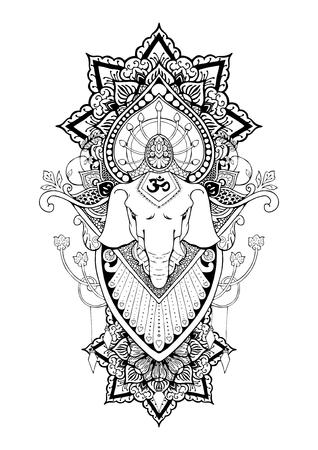 Silhouette of Ganesha mandala oriental drawing illustration.