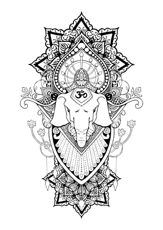 Silhouette of Ganesha mandala oriental drawing illustration.