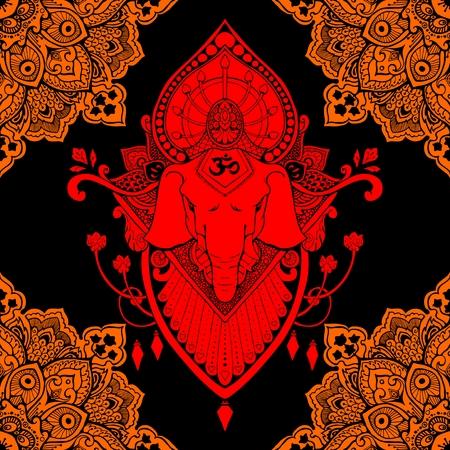 Ganesha (God of success) mandala oriental drawing tattoo illustration vector seamless pattern red orange and black tone