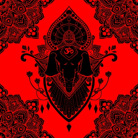 Ganesha (God of success) mandala oriental drawing tattoo illustration vector seamless pattern with red and black tone Illustration