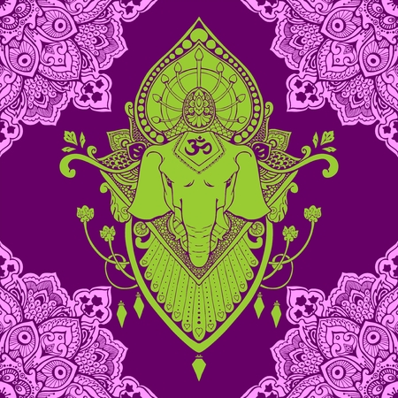 Ganesha (God of success) mandala oriental drawing tattoo illustration vector seamless pattern with violet and green tone