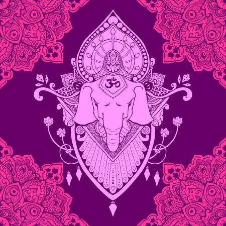 Ganesha (God of success) mandala oriental drawing tattoo illustration vector seamless pattern violet tone Illustration