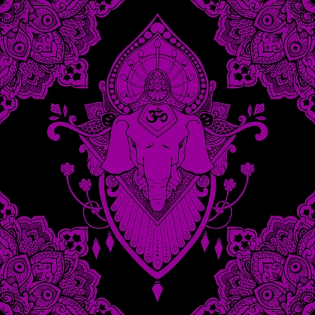 Ganesha (God of success) mandala oriental drawing tattoo illustration vector seamless pattern with violet and black tone Illustration