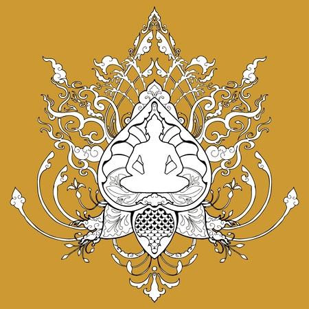 Meditación de Buda doodle dibujo ilustración con tatuaje de estilo tailandés tatuaje o página de libro para colorear Foto de archivo - 91634613