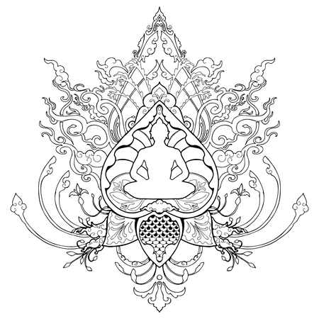 Buddha meditation doodle drawing illustration with Thai style ornament tattoo or coloring book page