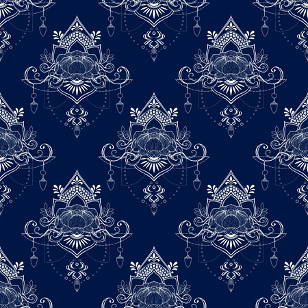 Lotus flower in mandala meditation style seamless pattern vector in Porcelain tone  and deep blue background tone