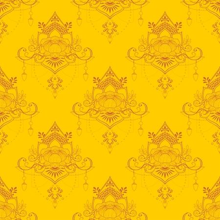 Lotus flower in mandala meditation style seamless pattern vector in yellow tone