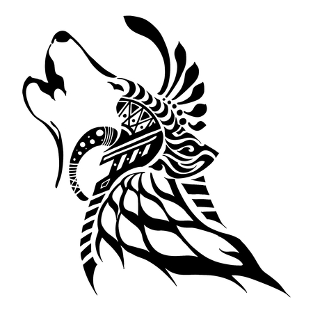 King of wolf with Aztec tribal silhouette tattoo vector style with white background