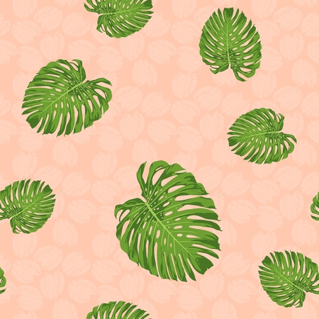 Monstera leaf vector seamless pattern with rose pink color tone background