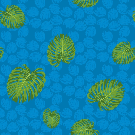 Monstera leaf vector seamless pattern with blue tone background
