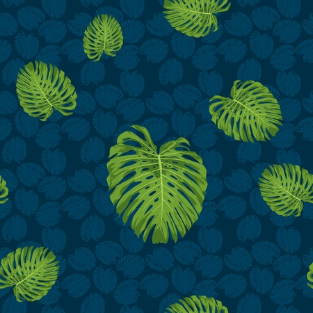 monstera leaf vector seamless pattern with navy blue tone background