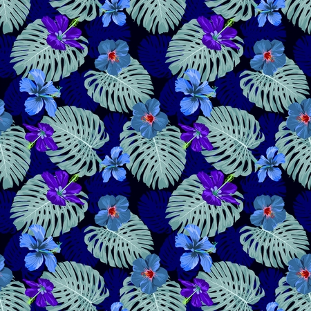botanical Hibiscus blue cool tone design for illustration vector seamless pattern with white background