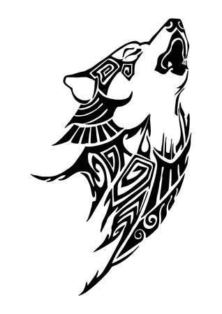 Silhouette Wolf whine head tribal tattoo design for arm or leg vector Ilustração