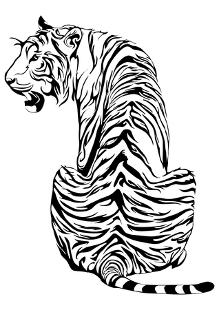 Tygrys usiąść i spojrzeć wstecz na projekt plemiennego tatuażu wektor z białym tłem