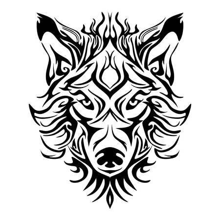 Wolf face head or wolf face design for tribal tattoo style vector with white background Banco de Imagens - 99800634