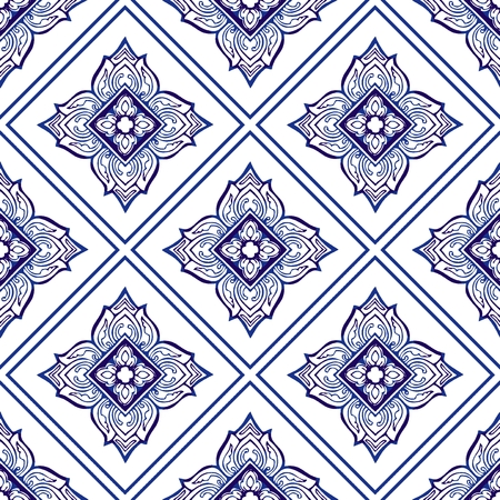Thailand traditional ornament element repetitive seamless pattern vector with Porcelain indigo blue and white background